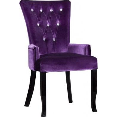 Chaise design en velours coloris violet avec strass L. 55 x H. 95 cm collection Comptonabbas