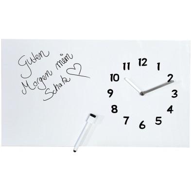 Horloge murale design en métal coloris blanc L. 60 x H. 35 cm collection Meade