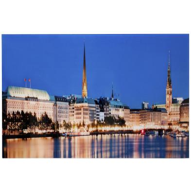 Tableau design magnifique vue ville hambourg L. 70 x H. 50 cm collection Peres