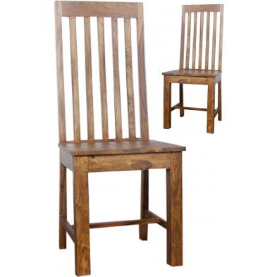 Chaise moderne beige en bois massif avec piétement en bois massif L. 45 x H. 95 cm Collection Holtgast