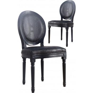 Lot de 2 chaises moderne en air cuir coloris noir L. 58 x H.  96 cm collection Dre