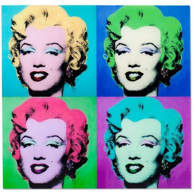 Tableau moderne style pop art Marilyn en verre trempé L. 80 x H. 80 cm collection Zattaglia