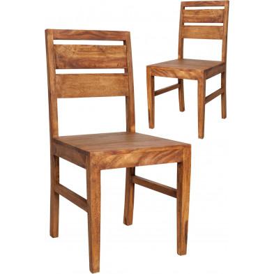 Lot de 2 chaises de cuisine moderne en bois massif coloris naturel L. 45 x P. 45 x H. 90 cm collection Soutodacasa
