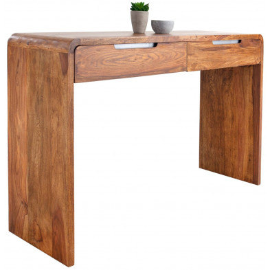 Bureau design en bois massif coloris naturel L. 120 x P. 40 x H. 80 cm collection Soutodacasa