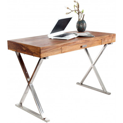 Bureau design en bois massif coloris naturel L. 120 x P. 55 x H. 75 cm collection Soutodacasa
