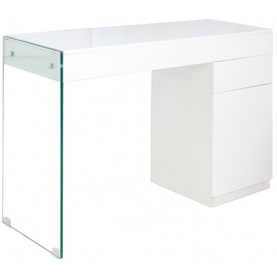 Table de bureau design en mdf coloris blanc laqué L. 120 x P. 40 x H. 75 cm collection Strew