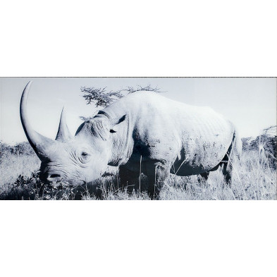 Tableau moderne en verre trempé rhinocéros L. 140 x H. 60 cm collection Eshott