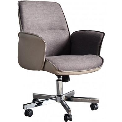 Chaise de bureau réglable 90-100 cm en pvc et tissu coloris écru collection Vanhierden