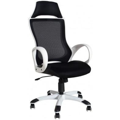 Chaise de bureau en polyestercoloris noir et blancL. 60 x H. 60 cm collection Fell