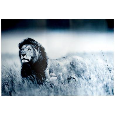 Tableau moderne en verre trempé lion L. 140 x H. 95 cm collection Ackuy