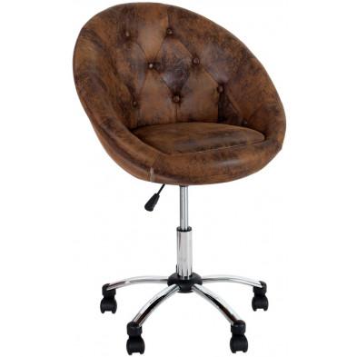 Chaise de bureau moderne en microfibre coloris brun L. 60 x H. 84 cm collection Favreau