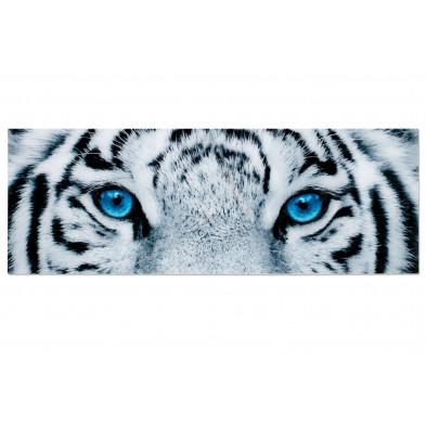 Tableau moderne en verre trempé tigre blanc L. 140 x H. 50 cm collection Pedmore
