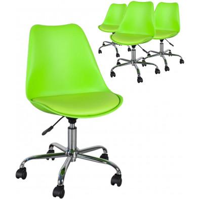 Lot de 4 chaises de bureau design 80- 90 cm en pvc et plastique coloris vert collection Leopoldo