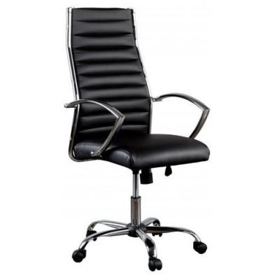 Chaise de bureau design en pvc coloris noir et argent  L. 55 x H. 116 cm collection Vanhooft