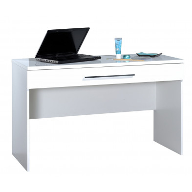 Bureau blanc design L. 120 x P. 50 x H. 75 cm collection Gigliola