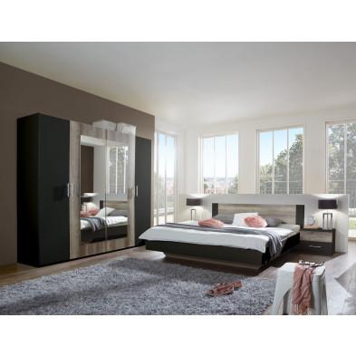 Ensemble chambre à coucher avec lit 180x200 cm et armoire 225 cm coloris chêne et noir collection Vanhoogdalem
