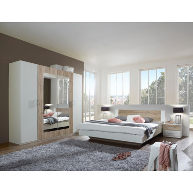 Ensemble armoire 225 cm + lit 180x200 cm + 2 chevets coloris chêne clair et blanc collection Vanhoogdalem