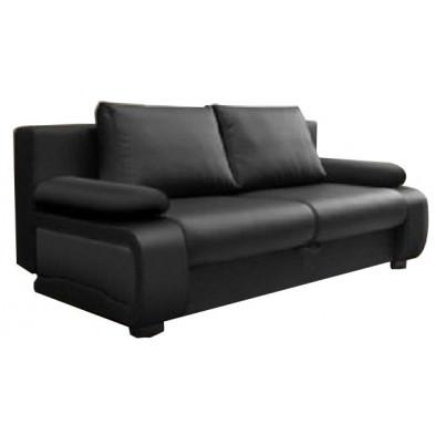 Canapé convertible design à 2 places en pvc noir avec coffre de rangement L. 200 x P. 97 x H.90 cm collection Madone