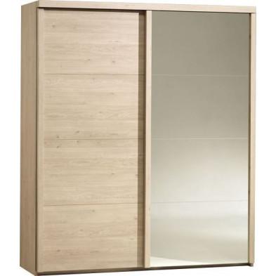 Armoire porte coulissante marron contemporain en panneaux de particules mélaminés de haute qualité L. 187 x P. 65 x H. 220 cm collection Saintamand