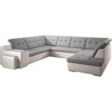 Canapés d'angle blanc design en bois massif 6 places L. 327-264-230 x P. 100-100 x H. 79-87 cm collection Duddleswell