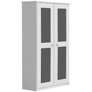 Armoire contemporaine  gris en bois massif   L. 86 x H. 196 cm collection Genoveffa