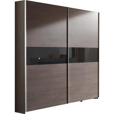 Armoire adulte marron contemporain en panneaux de particules mélaminés de haute qualité  L. 200 x P. 72 x H. 216 cm collection Verptin