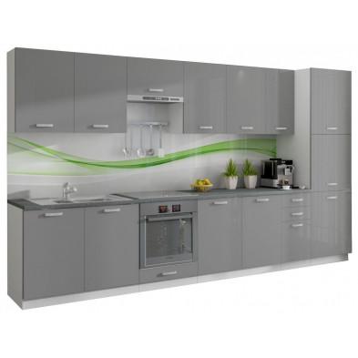 Ensemble cuisine complet ultra moderne coloris blanc mat et gris laqué L. 360 x P. 60 cm collection Arronches