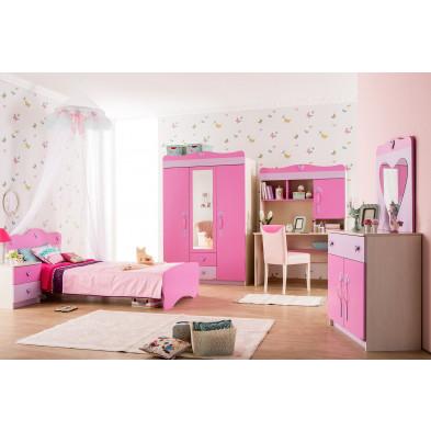 Chambre enfant complète rose classique en collection Enang