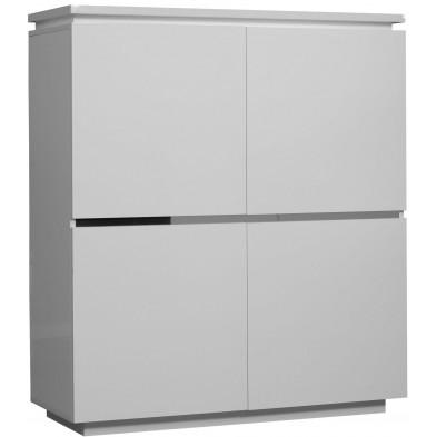 Vitrine blanc design en panneaux de particules de haute qualité L. 110 x P. 42 x H. 125 cm collection Mcnally
