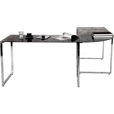 Bureau d'angle Design noir en verre et métal chromé 180 cm collection Pastorello