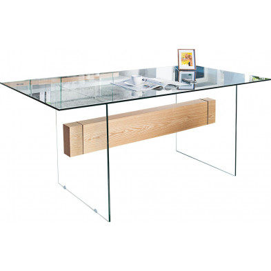 Table à manger design en bois chêne et verre en coloris transparent  L. 160 x P. 85 x H. 76 cm collection Sanny