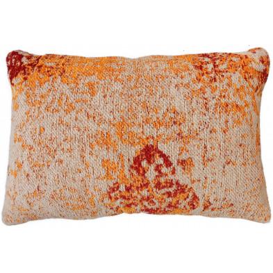 Coussin et oreiller orange vintage tissé à la main en 50% coton et 50% polyester chenille L. 60 x P. 40 x H. 0 cm collection Lanchester