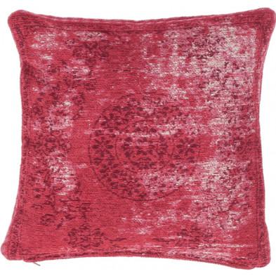 Coussin et oreiller rouge vintage tissé à la main en 50% coton et 50% polyester chenille L. 45 x P. 45 x H.  collection Hawnby