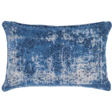 Coussin et oreiller bleu vintage tissé à la main en 50% coton et 50% polyester chenille L. 60 x P. 40 cm collection Hawnby