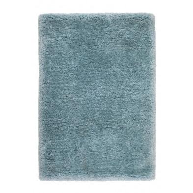 Tapis unicolore bleu design tissé à la main en polyester L. 170 x P. 120 x H. 5,5 cm collection Vavenby