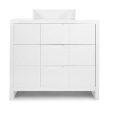 Commode à langer classique blanc en bois MDF et panneaux de particules de haute qualité L. 100 x P. 55/75 x H. 89 cm Collection Dumoulin