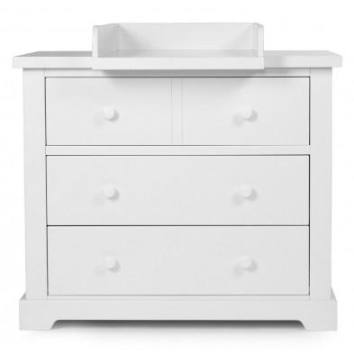 Commode à langer moderne blanc en bois MDF et panneaux de particules de haute qualité L. 106 x P. 55/75 x H. 90 cm Collection Ermenegildo
