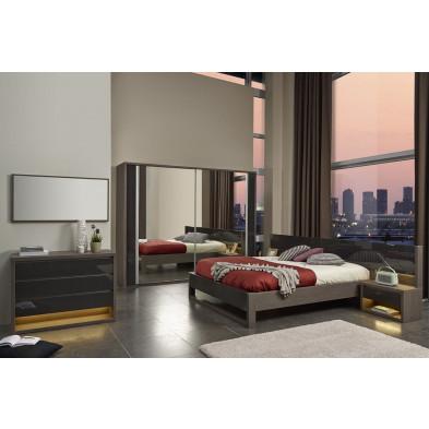 Chambre adulte complète gris moderne collection Hicran