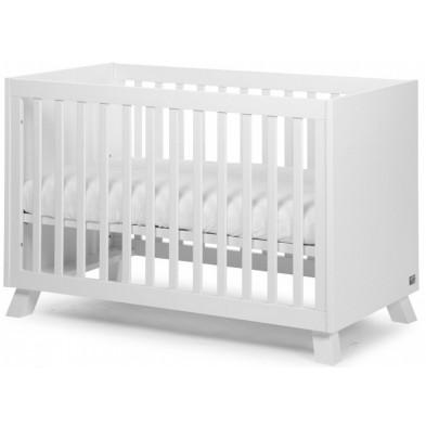 Lit bébé moderne blanc en bois MDF et panneaux de particules de haute qualité 60x120cm Collection Zurie