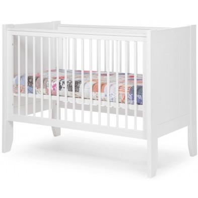 Lit bébé à barreaux moderne blanc en bois MDF et panneaux de particules de haute qualité 60x120cm Collection Hattan