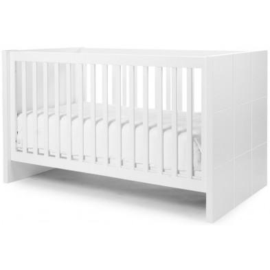 Lit bébé évolutif design blanc en bois MDF et panneaux de particules de haute qualité 70x140cm  Collection Dumoulin