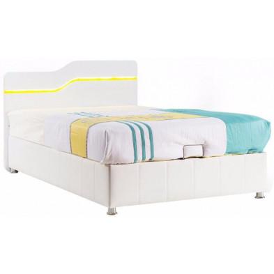Lit enfant 120x200 cm blanc design en panneaux de particules mélaminés de haute qualité collection Bursay