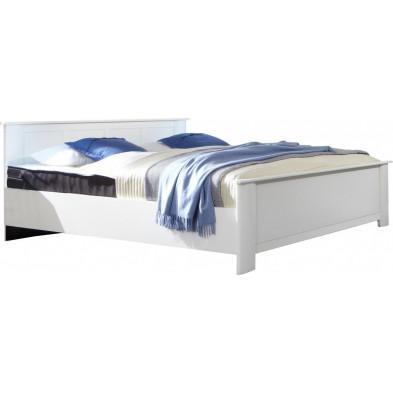 Lit 160x200 cm blanc contemporain en panneaux de particules mélaminés de haute qualité collection Vanliempt
