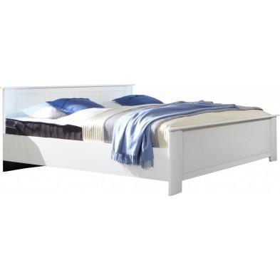 Lit 180x200 cm blanc contemporain en panneaux de particules mélaminés de haute qualité collection Vanliempt