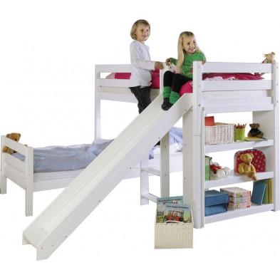 Lit superposé 90x200 cm blanc moderne en bois massif hêtre collection Jannette