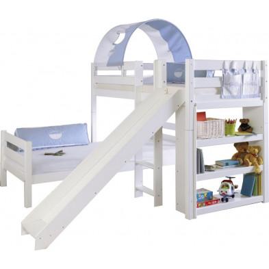 Lit superposé 90x200 cm blanc moderne en bois massif hêtre collection Henau