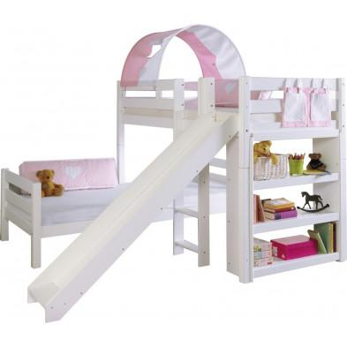 Lit superposé 90x200 cm blanc moderne en bois massif hêtre collection Aspe