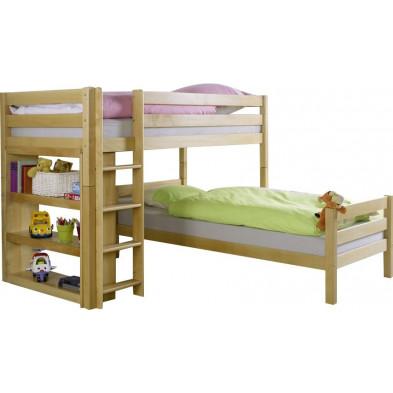 Lit superposé 90x200 cm marron moderne en bois massif hêtre collection Spread