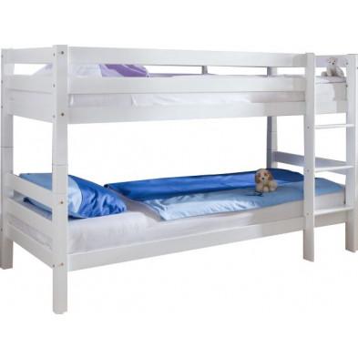 Lit superposé 90x200 cm blanc moderne en bois massif hêtre collection Aida