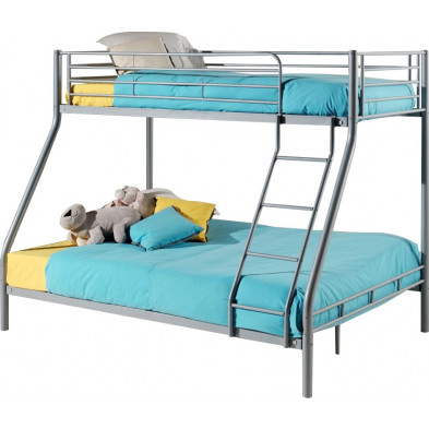 Lit superposé 90x200 cm et 140x200 cm gris moderne en acier collection Aughtche
